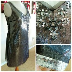 HPx2 Silver Black Sequin Party Dress-Beautiful Worn twice for a few hours. No flaws...just beautiful & sexy sheath tank dress with gorgeous embellishments on colar in front & back. Very great gatsby. Has a black fine mesh overlay over silver sequins. Very high quality sequins and rhinestones. I have yet to find a nicer quality sequin dress in any price range. Pretty solid sz.12 with not much give (& the ONLY reason I'm selling it). Sadly it no longer fits. Firm price unless bundled. 39B 36W…