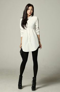 Tights leggings with shirt dress