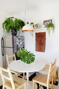 The bright dining area is where most hangouts and conversations happen in the apartment.