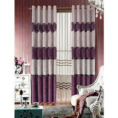 (Yksi pari) klassinen laventeli vuorattu chenille verho paneeli pelkkä sarja – EUR € 123.74