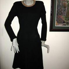 Vintage 1980s Bill Blass Black Dress Gold by ExpertImageVintage, $59.99