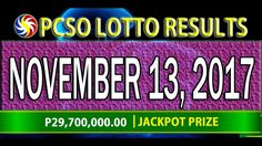 PCSO Lotto Results November 13, 2017 (6/55, 6/45, 4D, SWERTRES & EZ2 LOTTO) Lotto Results, November 13, Youtube, Youtubers, Youtube Movies