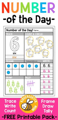 Free Number of the Day Worksheets!! Free printable  Number of the Day Worksheets for Preschool & Kindergarten. Students Trace, Write, Draw, Count, Color, Frame, Tally and more! via @prekmoms