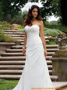 Günstige Brautkleider aus Satin A-Linie Trägerlos online kaufen 2013