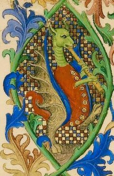 Dragon playing the flute [Getty, MS. 63, c. 1415]