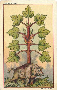 Vintage german playing card. Do you see the other animal? Really neat.