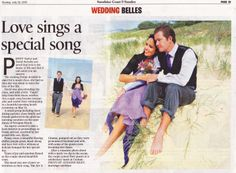 Newspaper Sunday Sunshine Coast Wedding Belles  www.suzanneriley.com.au Suzanne Riley Marriage Celebrant