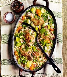 cider-braised-chicken-thighs-with-pearl-barley,-bacon,-carrots-and-peas