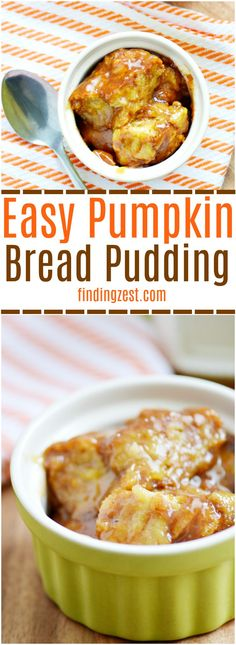 Try this easy pumpkin bread pudding recipe and discover how simple it is to make an amazing bread pudding with brown sugar sauce! Tastes great topped with vanilla ice cream or whipped cream. Try it for Thanksgiving dessert! #breadpudding #pumpkin #thanksgiving