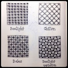 Tangle Patterns : Beelight, Chillon, & Bales Practice Page by ha! designs
