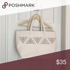 Perfect White Summer Tote - Perforated! Perfect White Summer Tote with a perforated pattern. Deep and wide like a good tote should be!  Perfect for picnics, farmers market, beach, travel, or everyday use. Excellent condition. Bags Totes