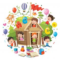 Vector Illustration Of Kids Nature Concept Tree House image vector Girl Cartoon Characters, Cartoon Books, Cute Images, Cute Pictures, Safari Decorations, Kids Study, Butterfly Art, Drawing For Kids, Happy Kids