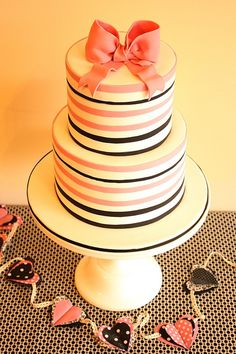 pink and black striped cake
