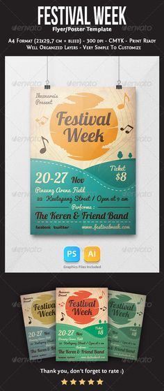 Festival Week Flyer Template  #GraphicRiver         Festival Week Flyer Template   This flyer was designed to promote an event, such as a gig, concert, festival, party and more.   Features :   2 files, PSD & Ai   A4 Format (21×29,7 cm + bleed),  Organized layers,   CMYK 300dpi,   Ready to print.  Editable  Fonts   lobster   pacifico   Enjoy and Please Don't forget to rate it .. thanks      Created: 14November13 GraphicsFilesIncluded: PhotoshopPSD #AIIllustrator Layered: Yes…