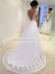 Cheap bridal dress, Buy Quality tulle wedding dress directly from China wedding dress Suppliers: Vestidos De Novia Sweetheart Lace Backless A Line Tulle Wedding Dress Full Sleeve Bridal Dresses White Lace Wedding Dress, Wedding Dresses Uk, Open Back Wedding Dress, V Neck Wedding Dress, Applique Wedding Dress, Backless Wedding, Long Sleeve Wedding, Elegant Wedding Dress, Perfect Wedding Dress