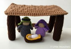A crocheted stable perfect for the mini crocheted nativity set, a soft kid friendly nativity including Mary, Joseph, and Baby Jesus.