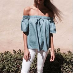 You can't go into Autumn with out an off the shoulder top like this @ilovelilya 'Tara' Top in Chambray.  Super versatile you can dress it up or down or wear it with denim!  In store & online at Lookbook | RG via @rootsandwingsdesign  #ilovelilya #lilya #lookbookboutique #lookbook #newarrivals #aw16 #awfashion #awfashion #ontrend #offshoulder #chambray #luxe #fashion #fashionpost #streetfashion #streetstyle #streetwear