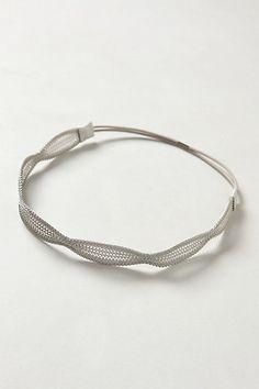 Avril Mesh Silver Headband- Anthropologie