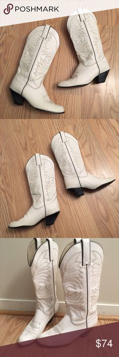 "VINTAGE KENNY ROGERS white cowboy boots VINTAGE KENNY ROGERS tall white cowboy boots | genuine leather | size 6M | 2"" heel 