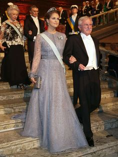 Princess Madeleine, the youngest child of King Carl XVI Gustaf and Queen Silvia, wore the stunning Aquamarine Koloshnik tiara with her lilac embellished dress as she made her entrance with Nobel Chemistry Prize 2015 co-winner Paul Modrich, from the US