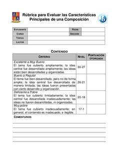 Rúbrica para Evaluar las Características          Principales de una ComposiciónESTUDIANTE                                   FECHA  C URSO                     …