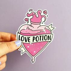 A sticker of a bottle of Love Potion inspired by Harry Potter. Each sticker is professionally printed using UV stable inks onto a durable heavy duty vinyl with a strong adhesive backing. Important Stuff: UV stable inks Durable heavy duty vinyl Measures by Desenhos Old School, Petit Tattoo, Kawaii Tattoo, Tattoo Flash Art, Potion Bottle, Tips & Tricks, Aesthetic Stickers, Cute Tattoos, Cute Stickers