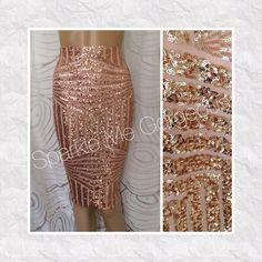 Rose Gold Geometric Sequin Pencil Skirt by SPARKLEmeGORGEOUS