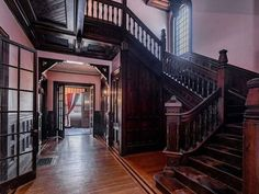 Victorian Interiors, Victorian Homes, Springfield Massachusetts, Roof Restoration, Morris Wallpapers, French Architecture, Mansions For Sale, Grand Homes, Grand Entrance