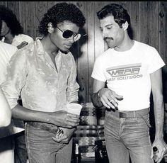michael jackson and freddie mercury. a couple of legends, just hanging out.