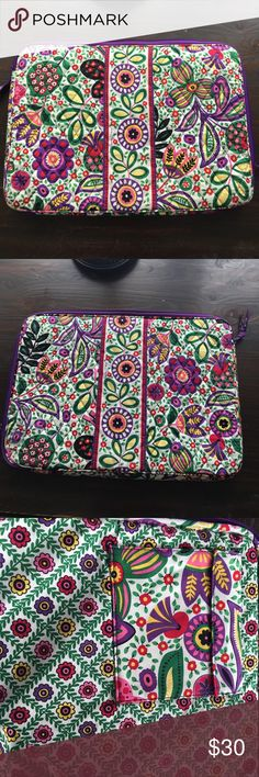 Vera Bradley Laptop Case This is a bright, fun, and colorful laptop case in perfect condition. This would fit a larger laptop, around 15.5 inches or slightly larger. Zipper works and there is a Velcro pocket inside for headphones, charger, etc. this comes from a smoke free home. Vera Bradley Bags Laptop Bags