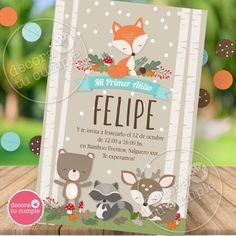 Un kit súper adorable con nuestras exclusivas ilustraciones de animalitos del bosque, perfecto baby shower y cumpleaños de todas las edades! Armá la deco más linda con nuestros zorrito, ciervito, mapache y osito, incluye carpita india también. Complementá tu decoración con pompones de papel de seda en marrón, aguamarina y naranja y cintas naranjas para lograr una decoración súper profesional. Fox Party, Party Kit, Animal Party, Baby Boy 1st Birthday Party, One Year Birthday, Baby Party, Birthday Decorations, Baby Shower Decorations, Baby Event