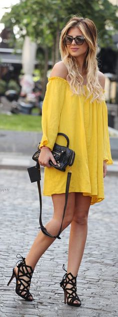 Yellow Off Shoulder Dress Summer Style by Zorannah.