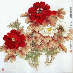 Are fashion, art & decor your interests? Asian Flowers, Oriental Flowers, Chinese Flowers, Japanese Flowers, Japanese Tattoo Art, Japanese Art, Peony Flower, Flower Art, Japan Painting