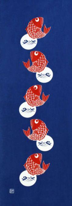 Japanese Tenugui cotton towel fabric. Sea bream (red snapper) fish print design. High quality tenugui fabrics made of soft 100% cotton cloth and hand dyed by Japanese master dyers. [ H o w T o U s e ] * towel * washcloth * dishcloth * headband / bandanna * scarf * wall hanging