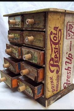 Cigar Boxes & Soda Crates- what a great storage container! – requires 2 old crat… Cigar Boxes & Soda Crates- what a great storage container! – requires 2 old crates to fit the cigar boxes in on their sides Vintage Upcycling, Upcycled Vintage, Repurposed, Clock Vintage, Cigar Box Crafts, Cigar Box Projects, Cigar Box Art, Old Crates, Vintage Crates