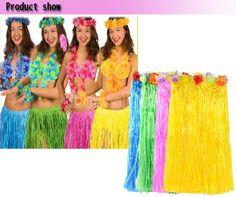 Hawaiian Beach Party Grass Skirt Flower Fancy Dress Hula Lei Garland Costume 6 Piece Set
