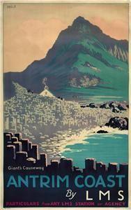 Irish Travel Art Poster, Giants Causeway, North Ireland