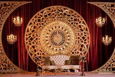 Custom Reception Design / Indian Wedding Reception Decor / Maroon and Gold Reception Decor / Stage Decor / Hilton Orlando / Occasions by Shangri-la / Banga Studios reception decoration stage wedding reception
