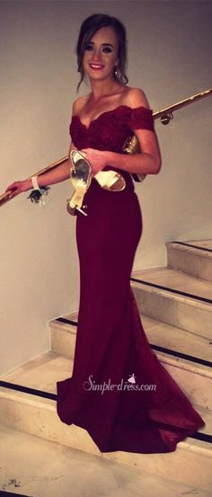 2016 prom dress, burgundy long prom dress, mermaid prom dress, off the shoulder prom dress, lace prom dress, chiffon prom dress, graduation dress, party dress