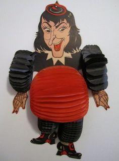 Vintage Beistle Halloween Tissue Honeycomb Dancer 1960's Witch