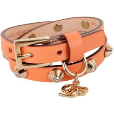 Bracciale Doppio in Pelle (535 SEK) ❤ liked on Polyvore featuring jewelry, arancione, womenjewelrybracelets and dsquared2