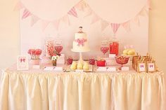 Pretty pink first birthday table