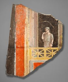 (c. 9 BCE - 14 CE) Roman fresco fragment with a woman on a balcony.