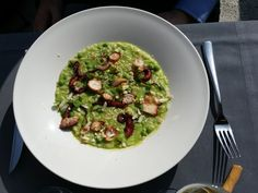 Pranzo al MAIO Restaurant - RINASCENTE MILANO risotto con polipo e piselli http://www.maiorestaurant.com/