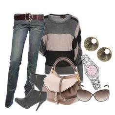 Серые джинсы с коричневым