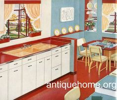 https://flic.kr/p/5Pgjv8 | 1948 Standard Plumbing Catalog | Another red, white and blue kitchen. Does peach really match this stuff??