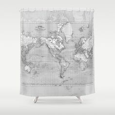 Brown map shower curtain brown and beige map travel decor home shower curtain minimalist grey vintage map home decor travel decor wanderlust mercator projector gumiabroncs Gallery