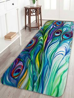 Feather Peacock Skidproof Bath Rug - GREEN W16INCH*L47INCH