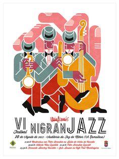 Nigran Jazz poster by Carlos Arrojo Jazz Festival, Festival Posters, Music Illustration, Graphic Design Illustration, Cafe Concert, Jazz Poster, Plakat Design, Jazz Art, Music Covers