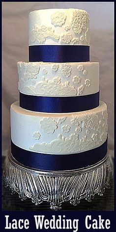 How to make a Lace Wedding Cake - replace that navy ribbon with some burlap please :)